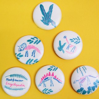 Plant dinosaur encyclopedia risograph engraved printing badge single purchase area herbivorous series