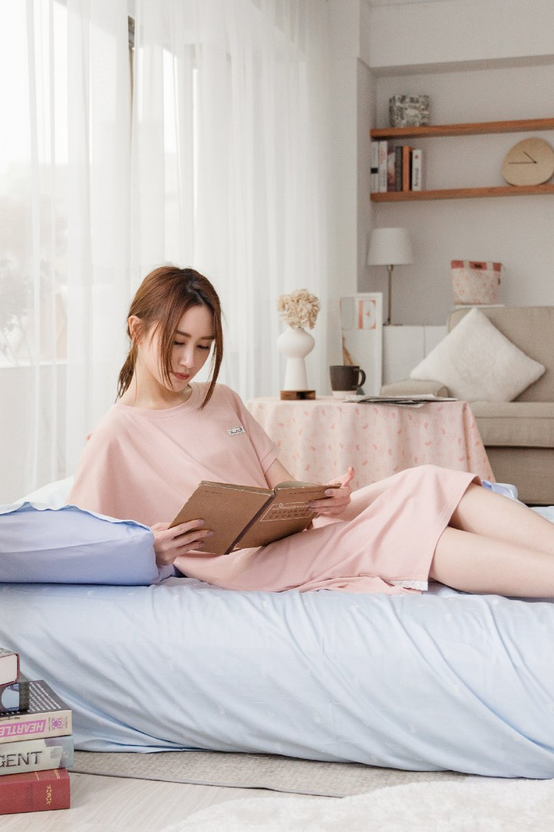 [Out of print] Collagen Lace Short Sleeve Homewear One-piece Dress (Pink) Pajamas Homewear Anti-epidemic