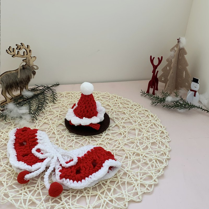 Christmas Christmas limited - Christmas little old man - pet cloak hat scarf red and white