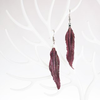 Leather Crave Earring Feather design - Plum Caspia