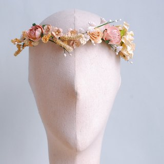 Paper Flower tiara ,flowers Crown, flowers Headband, Wedding, ivory, pale pink,