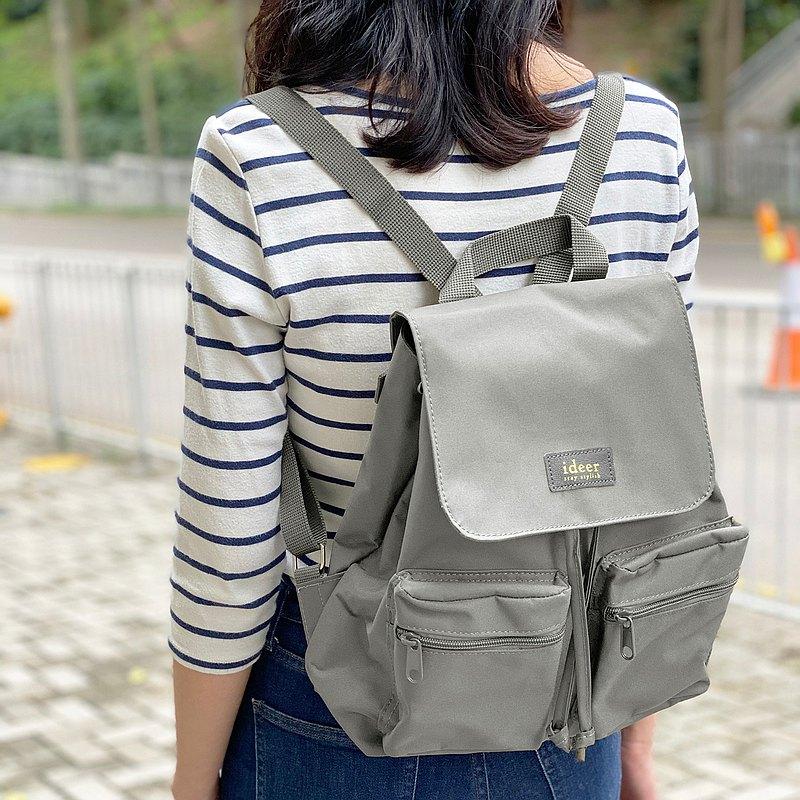防潑水淺灰色尼龍超輕背包 後背包 電腦包 旅行 書包