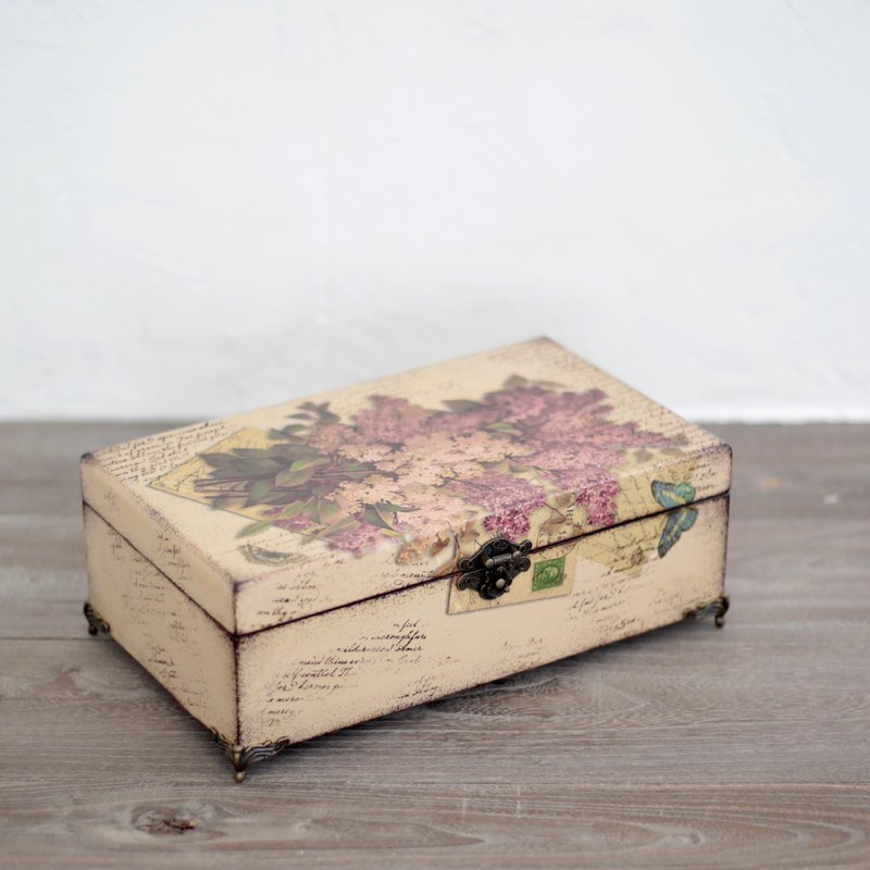 Amour love wood wood-vintage rustic distressed essential oil wooden box