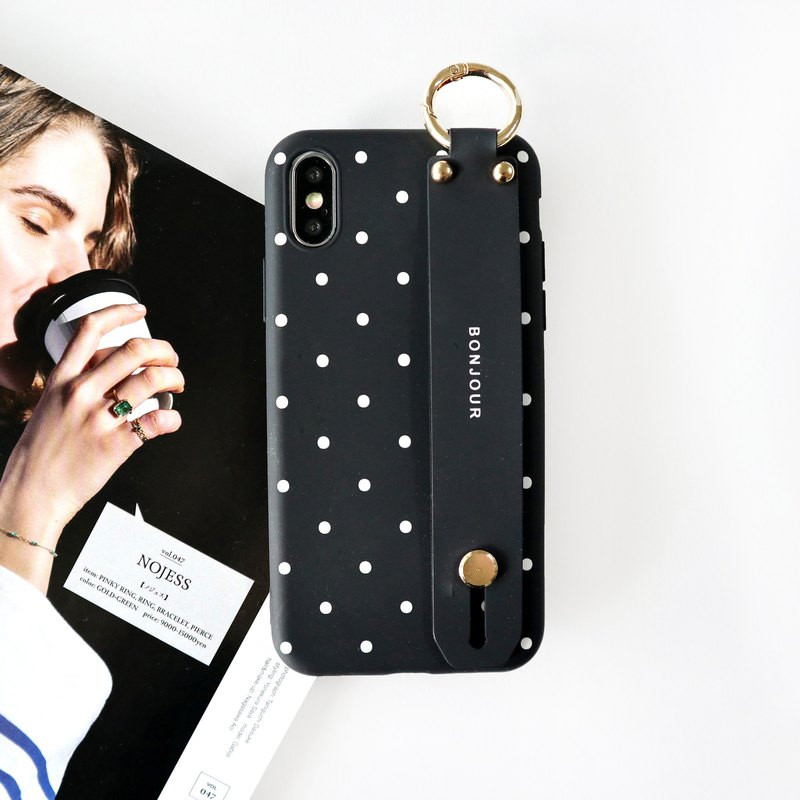 White dots Paris hand with phone case