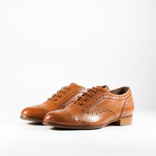 ITA BOTTEGA【Made in Italy】Italian leather bright brown classic carved oxford shoes