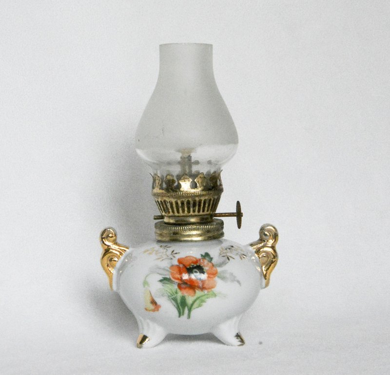 Early German flea antique ceramic lamp