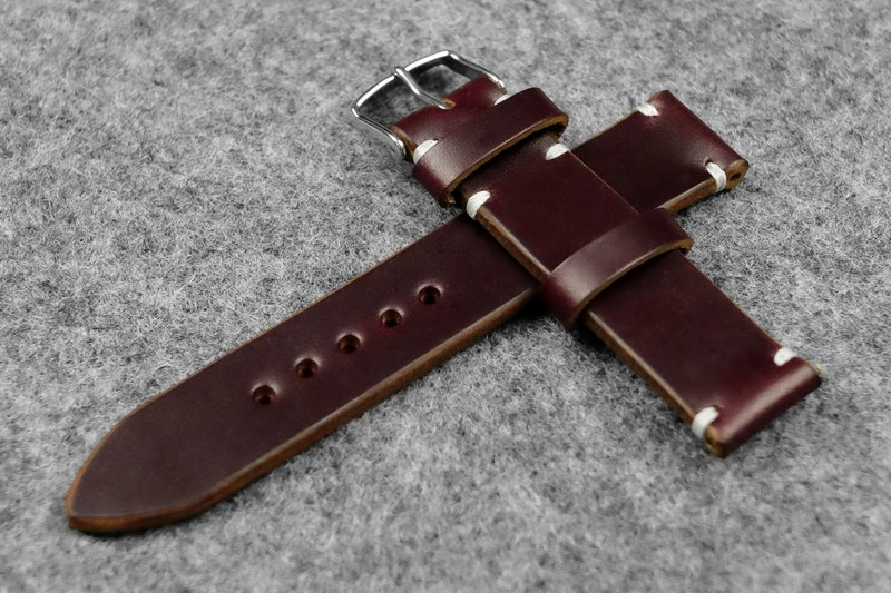 Horween Chromexcel Burgundy Leather Watch Strap