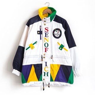 Vintage cartoon color ski jacket with vintage coat