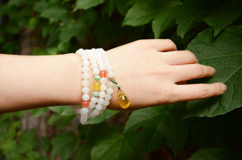 [New Green] Natural jade 砗磲 108 beads Beads Amber Bracelet Necklace