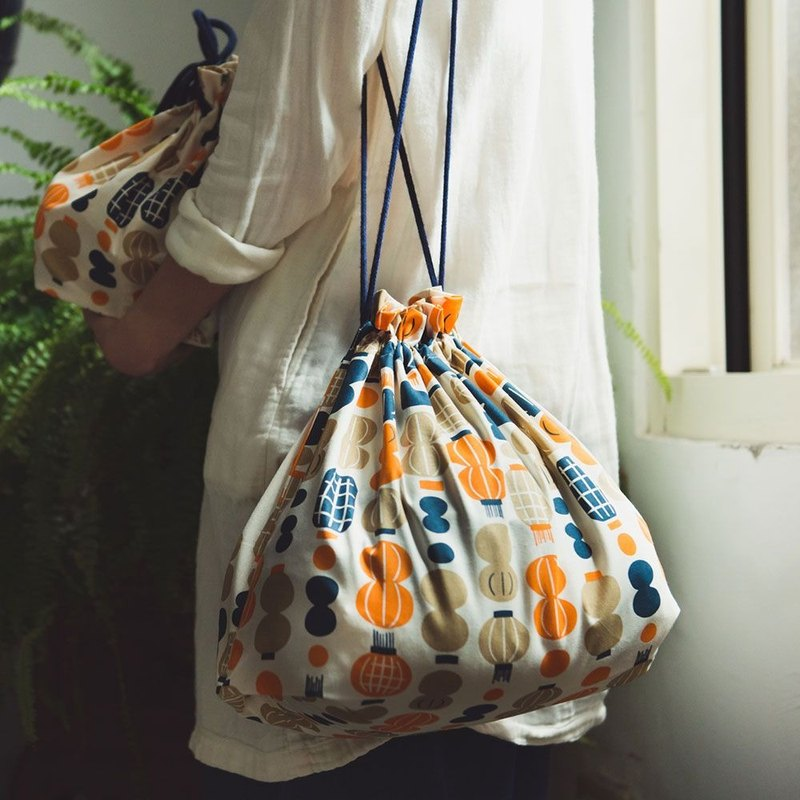 Traveling Purse-String Bag-L / Milly Collection / Paper Lantern / Orange & B