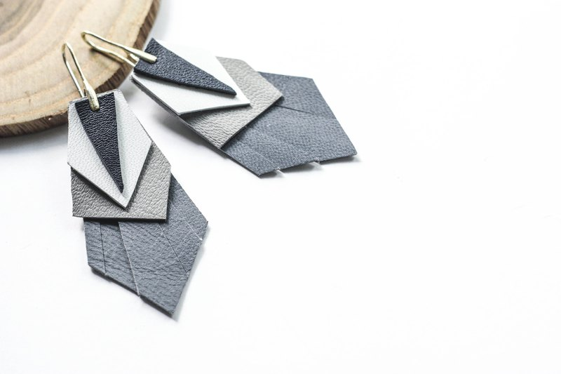 geometric origami feather leather earrings, denim colour, minimalist style