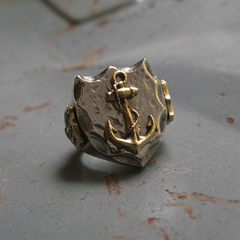 Mexican Biker Ring Skull silver Vintage brass anchor Navy world war sailor 925