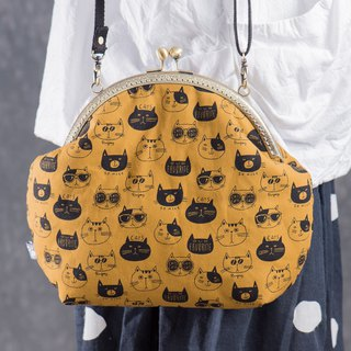 [Cat face stickers] Retro metal mouth gold package - wealthy # portable bag # cute # cat # cartoon
