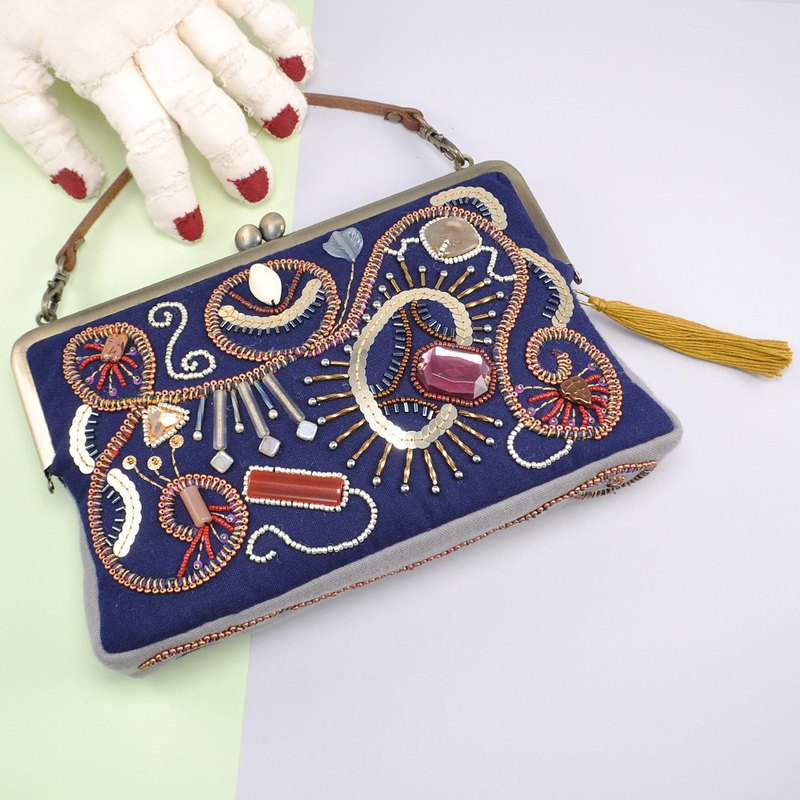 Embroidered bag with beads and yarn, party bag, sparkle navy bag