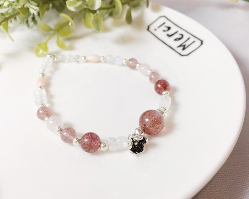 MH sterling silver natural stone love series _ lovers whisper _ strawberry crystal