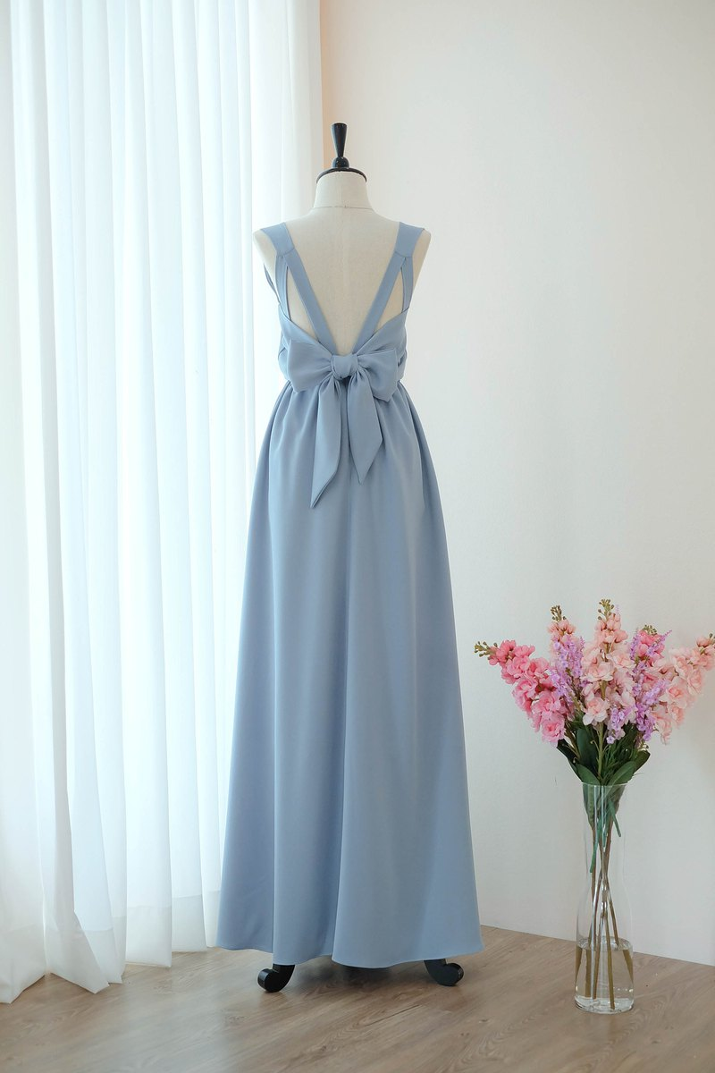 Grayish blue Dress Bridesmaid backless party Cocktail dress