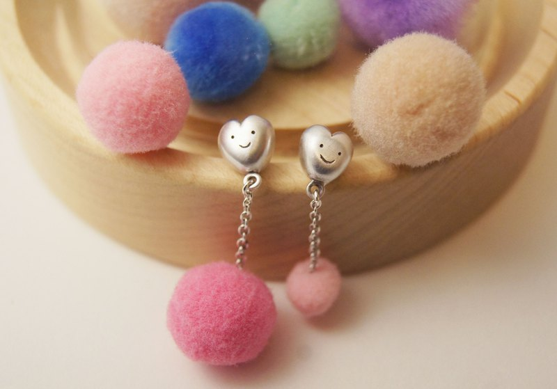 Cute Fluffy Heart Earring -Mist Surface