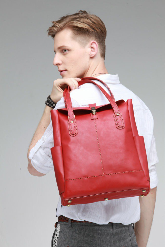 JIMMY RACING leather carrying shoulder tote bag - deep red 0302180