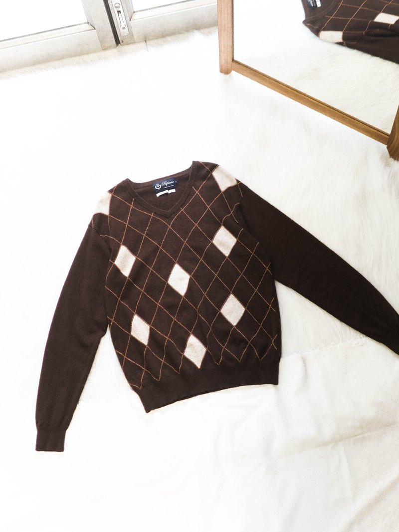 Coffee brown V-neck diamond checkered love arts and crafts antique cashmere vintage cashmere sweater cashmere
