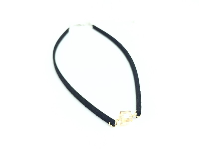 Transparent Gold Crystal - black suede necklace