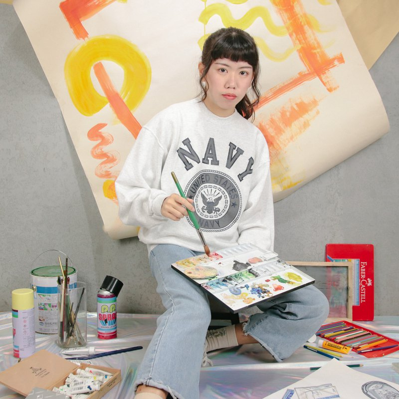 US military college Tee 010 NAVY light gray, sweater ancient [Tsubasa.Y ancient house]