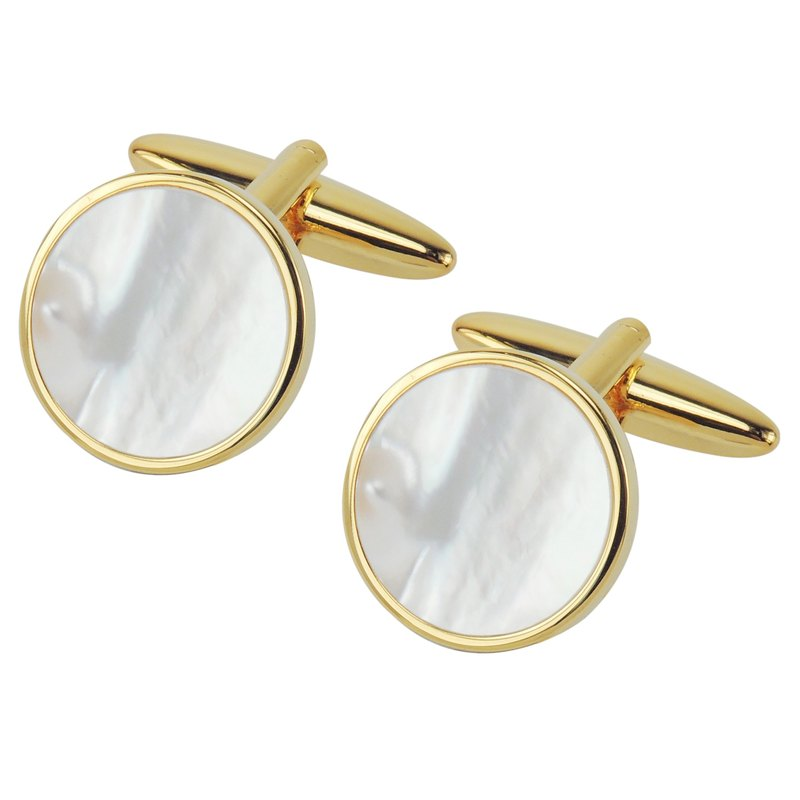 Gold Mother of Pearl Round Cufflinks