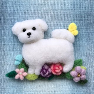Maltese dog - hand made wool felt pins