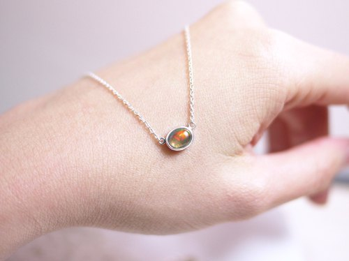 Mexican Opal Clavicle Chain in Sterling Silver