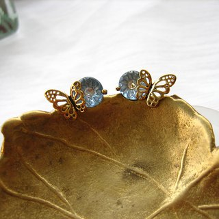 Golden Openwork Double Butterfly Antique Gemstone Diamond Earrings