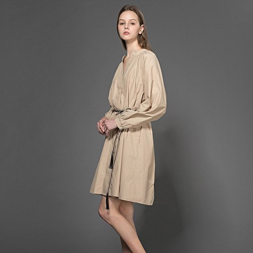 Shirring Dress with leather Belt