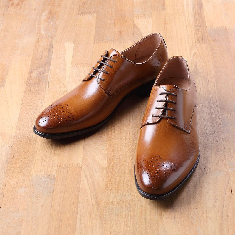 Vanger simple carved derby shoes Va216 brown