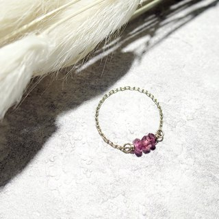 VIIART. Simple gem - red tourmaline. Natural Tourmaline 14KGF Japanese Small Ring
