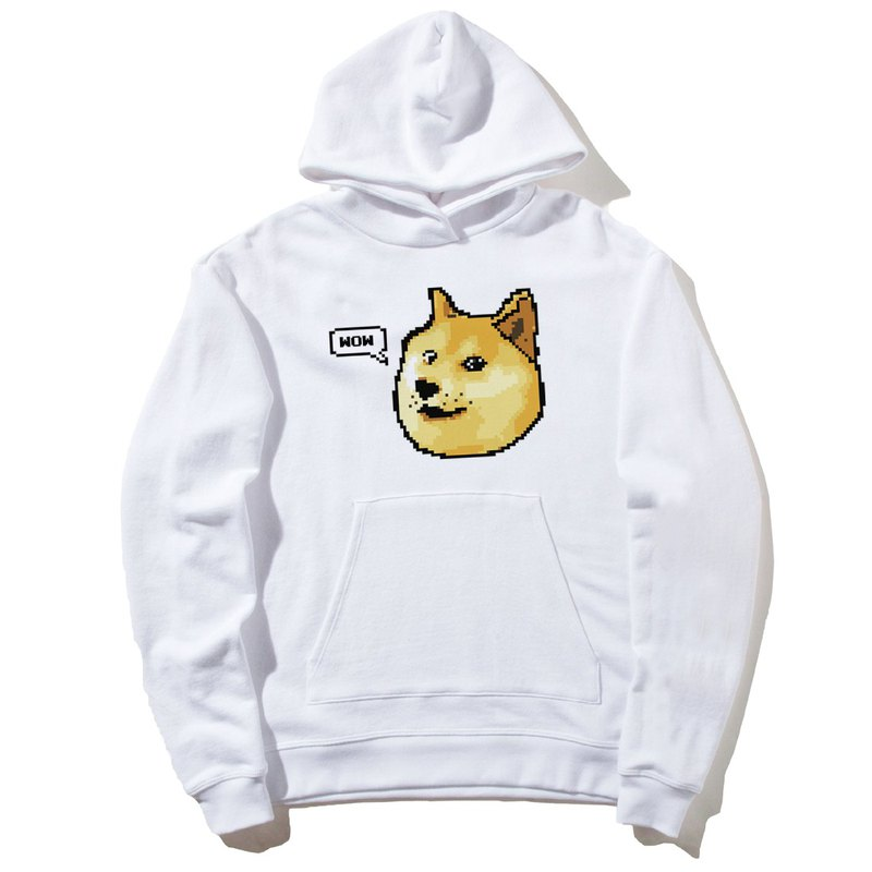 Shibe Doge WOW front figure long-sleeved bristle hooded T neutral white Shiba Inu Japanese animal dog cat street Wenqing