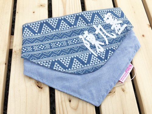 Blue ethnic wind name double-sided triangle scarf