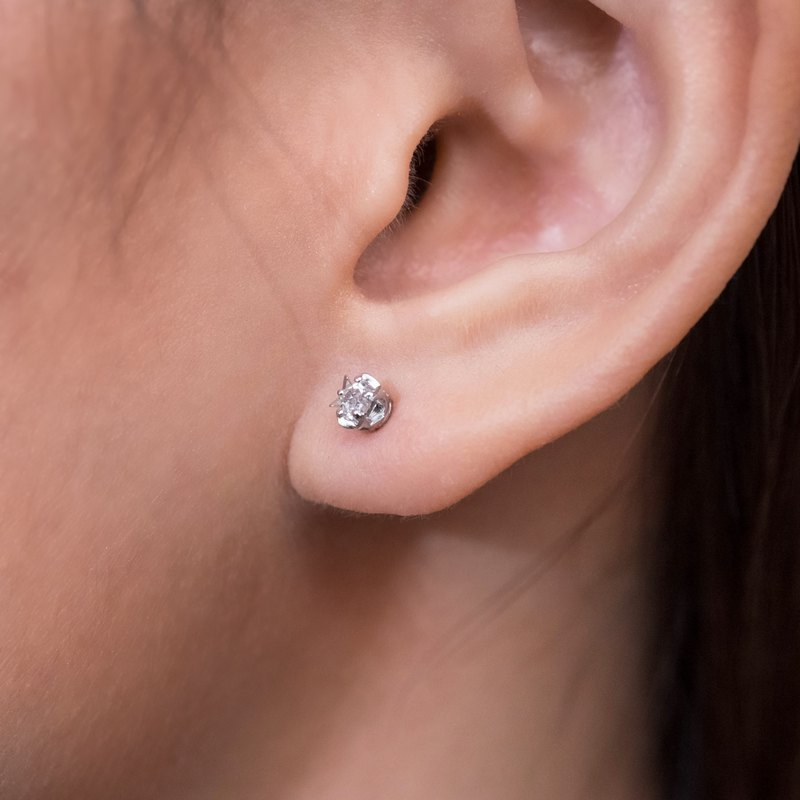 Star Stud Earrings with White Topaz
