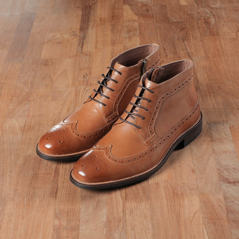Vanger Ying Shi Retro Derby Long Wing Ankle Boots - Va259 Brown
