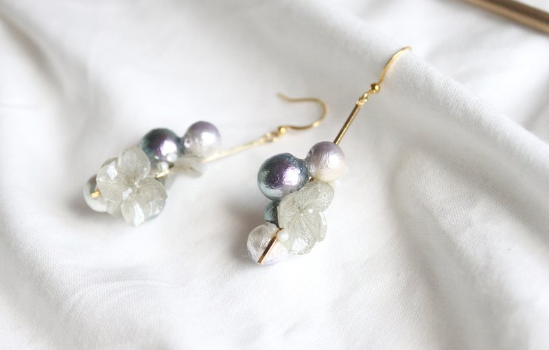 Textured gray cotton pearl hydrangea earrings