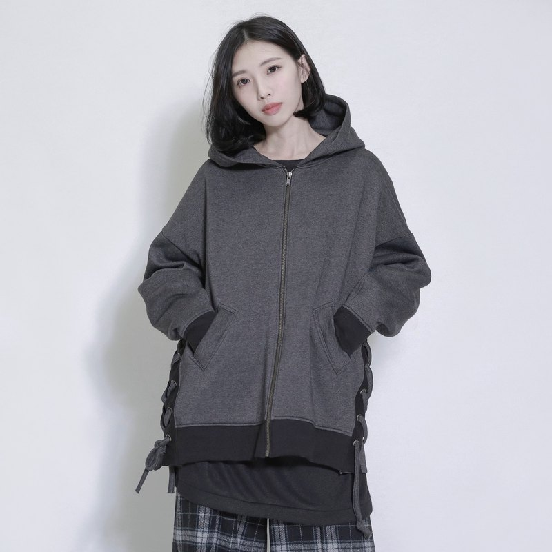 Circulation circulation strap hooded jacket_7AF306_麻黑