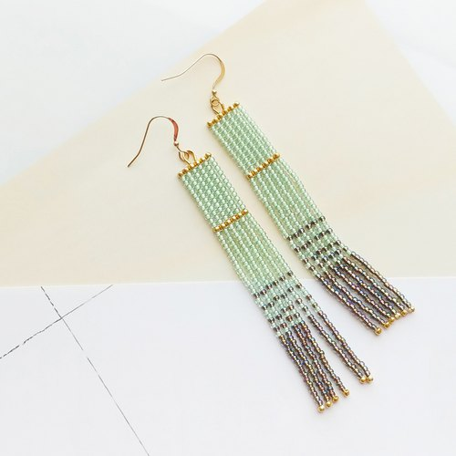 Light-Green - Long Beaded Tassel Earrings