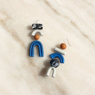 Bowie, Clay earrings with chunky geometric shapes