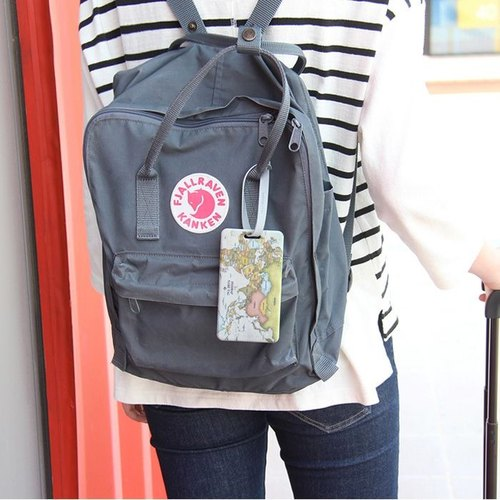 indigo- World Map Long Baggage Tag - Elegant Gray, IDG09458