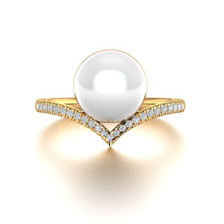【PurpleMay Jewellery】18k Yellow Gold Akoya Pearl Diamond Ring Band R030
