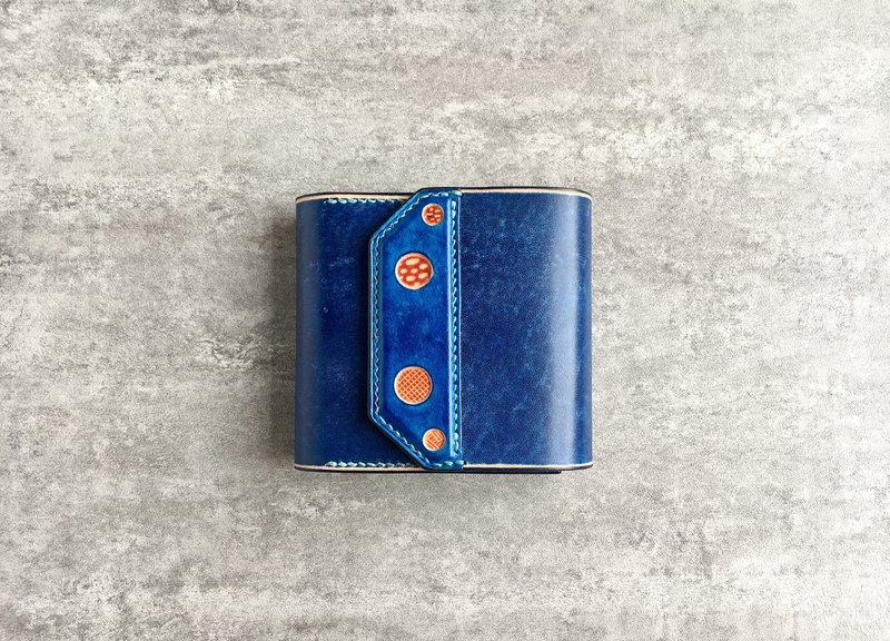 Blue handmade short leather wallet