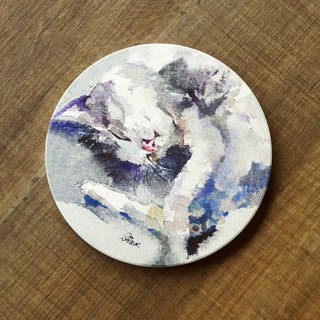 Ceramic Drinking Coaster - Cat Slacker