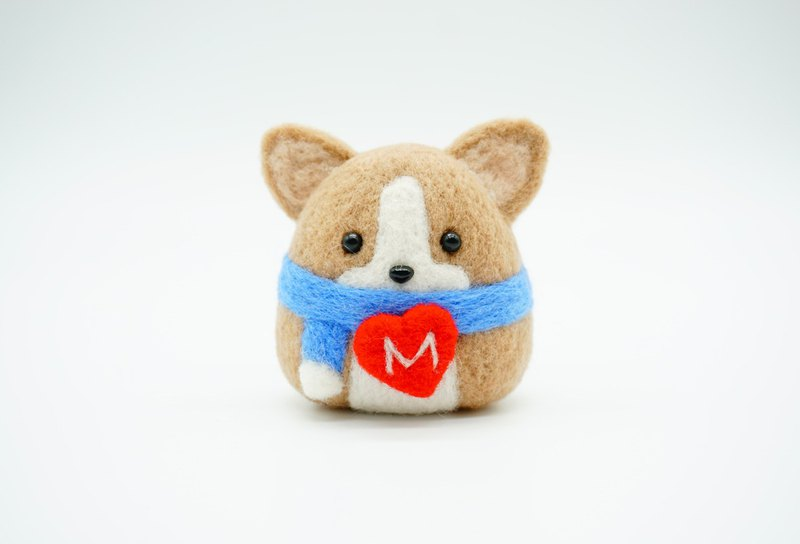 New year's day gift wool felt corgi dog custom letter decoration key ring pin charm