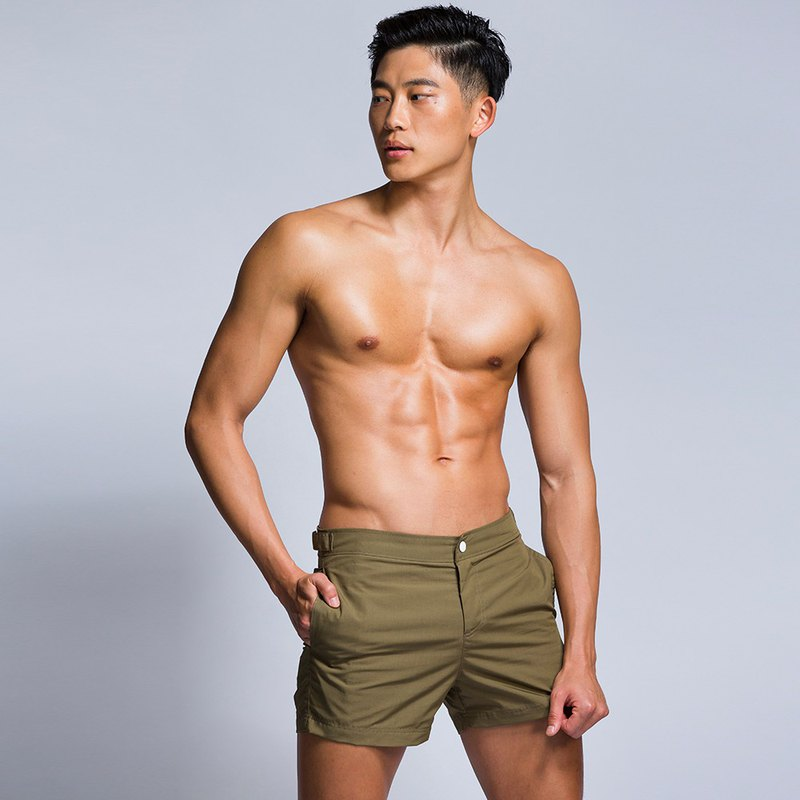 ST05 Waterproof (Beach) Casual Shorts-Olive Green
