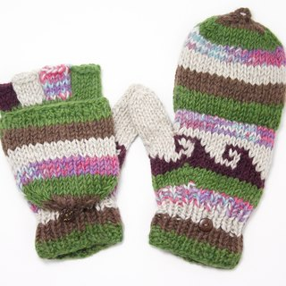 Valentine limit a knitted pure wool warm gloves / 2ways Gloves / Toe gloves / bristles gloves / knitted gloves - mixed colors childlike national totem