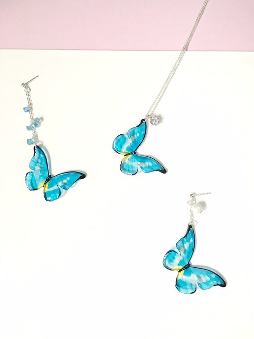 * Haku‧Neko * Hand-painted ice blue and yellow butterfly crystal chain earrings