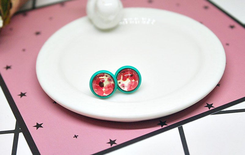 Time Gem <Green Painted Earrings>-Auricular Needle-Limited X1-