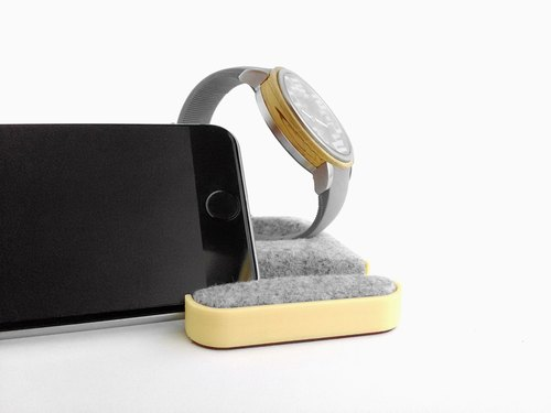 Unique multifunctional tray, Watch stand, Smartphone stand, Smart phone stand, Home sweet home Tray, Smartwatch, apple, iphone,  dock【ペールイエロー】